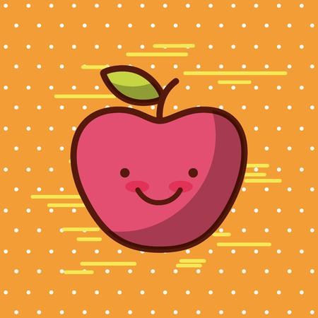 Appel Kawaii eten met achtergrond kleurrijke afbeelding vector illustratie ontwerp