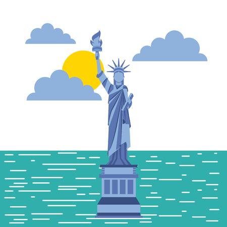 condominium: statue of liberty new york city related image vector illustration design