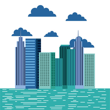 midtown: buildings city skyline image vector illustration design