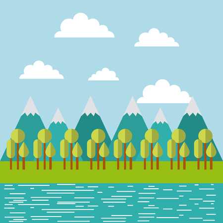 mountain ridge with forest and water image vector illustration design