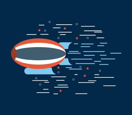 zeppelin red white blue over navy background image vector illustration design