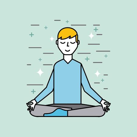 man meditating poster image vector illustration design Иллюстрация