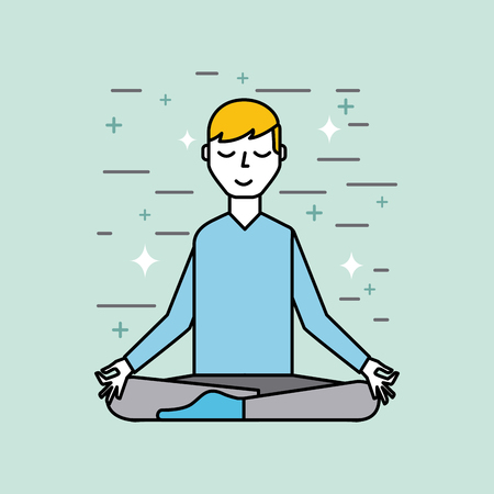 man meditating poster image vector illustration design Illustration