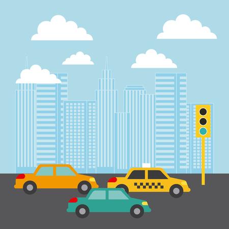 市の建物車交通光雲画像ベクトル イラスト デザイン