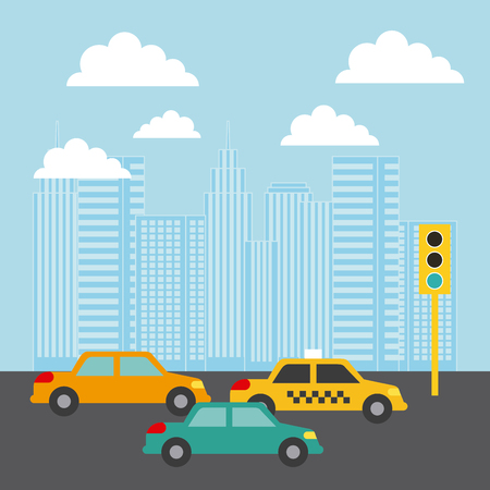 city buildings cars traffic light clouds image vector illustration design