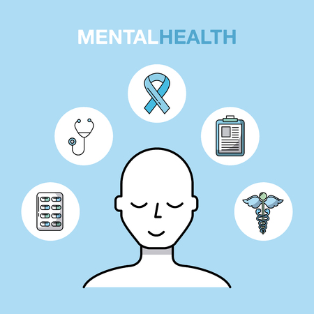 mental health healthcare related icons image vector illustration design Illustration