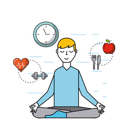 person meditating with healthy lifestyle objects healthcare related icons image vector illustration design