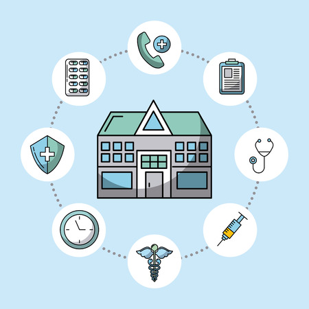 hospital with healthcare related icons image vector illustration design
