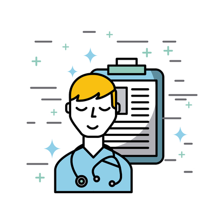 medical doctor and clipboard healthcare related icons image vector illustration design Stock Vector - 77708646