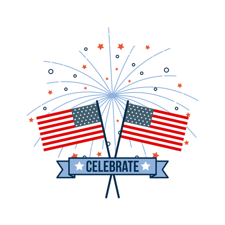 4th of july emblem image vector illustration design