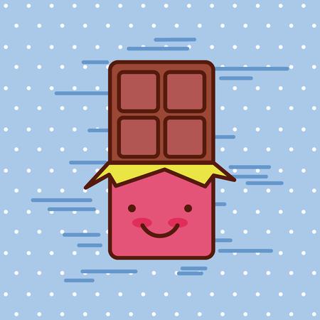バーの背景イメージのカラフルなベクトル イラスト デザインでかわいい食品チョコレート