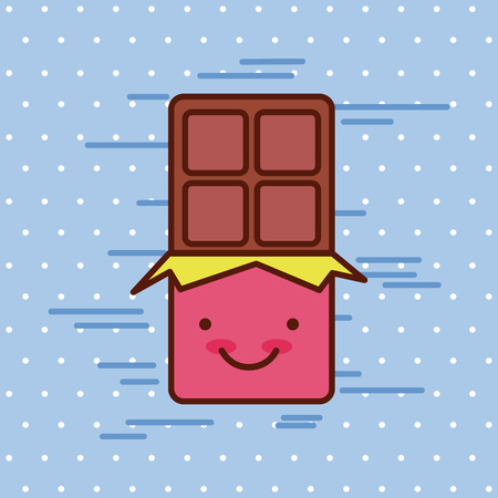chocolate bar kawaii food with background colorful image vector illustration design