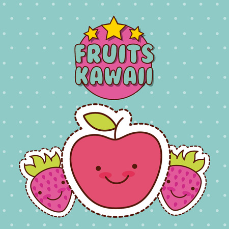 fruits apple strawberry kawaii food with background colorful image vector illustration design Иллюстрация