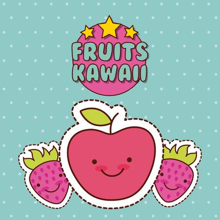 vruchten appel aardbei kawaii voedsel met achtergrond kleurrijke afbeelding vector illustratie ontwerp