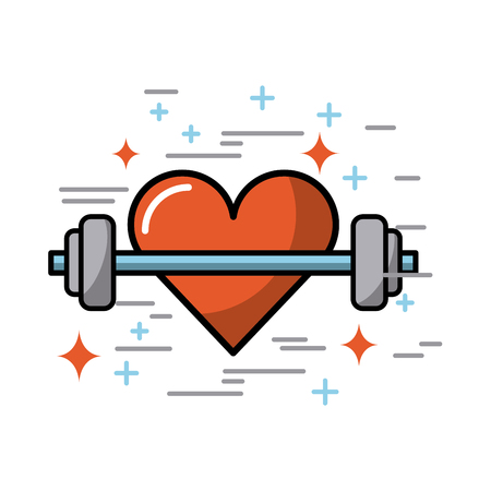 gym equipment: cartoon heart with weights fitness lifestyle image vector illustration design