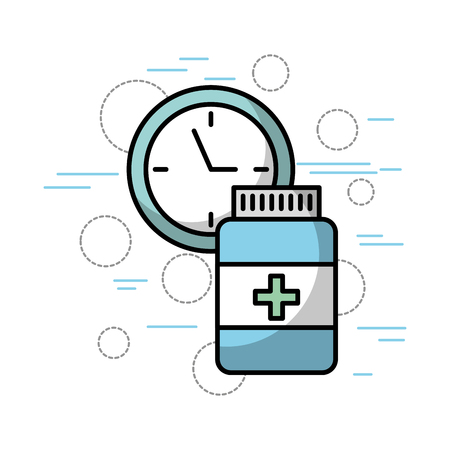 medication pills and clock healthcare related icons image vector illustration design Illustration