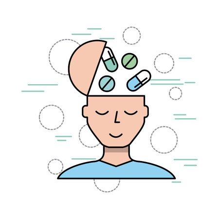 person and medication healthcare related icons image vector illustration design Illustration