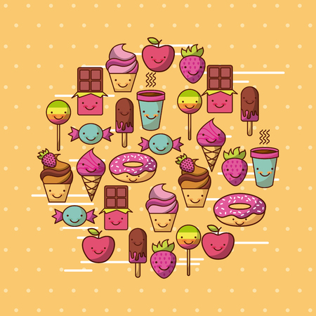 背景イメージのカラフルなベクトル イラスト デザインと各種かわいい食品 写真素材