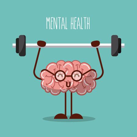 geestelijke gezondheid hersenen opheffen gewichten afbeelding vector illustratie ontwerp