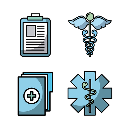 asclepius rod with healthcare related icons image vector illustration design