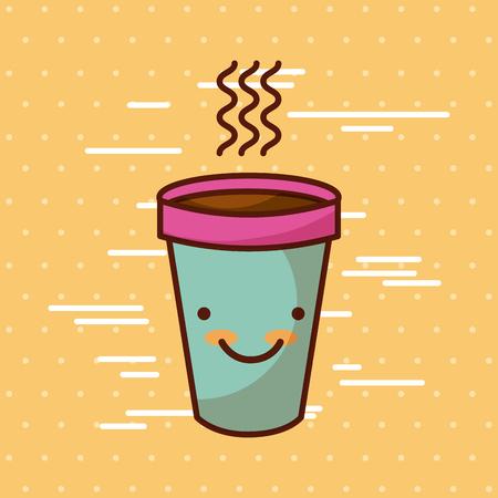 背景イメージのカラフルなベクトル イラスト デザインのコーヒーかわいい食品 写真素材