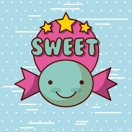 sweet kawaii lettering food with background colorful image vector illustration design Ilustrace