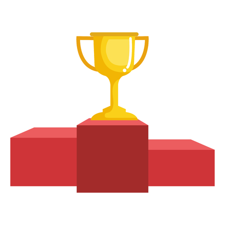 trophy cup with podium isolated icon vector illustration design