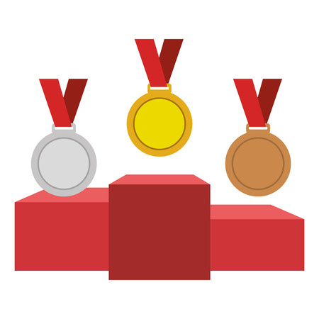 set Championship medals with podium isolated icon vector illustration design Stock Vector - 77710078