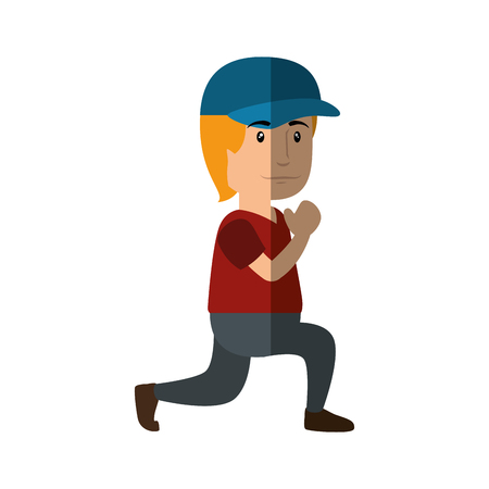 man wearing a cap, cartoon icon over white background. colorful design. vector illustration Stock Photo