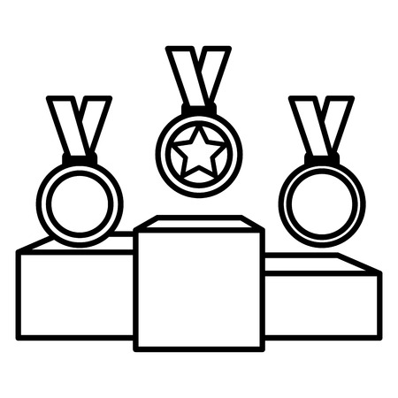 set Championship medals with podium isolated icon vector illustration design