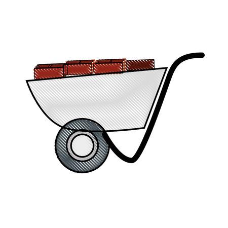wheelbarrol tool icon over white background. vector illustration 向量圖像