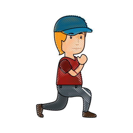 man wearing a cap, cartoon icon over white background. colorful design. vector illustration Illustration