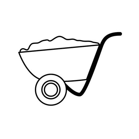 wheelbarrol gereedschapspictogram op witte achtergrond. vectorillustratie Stock Illustratie