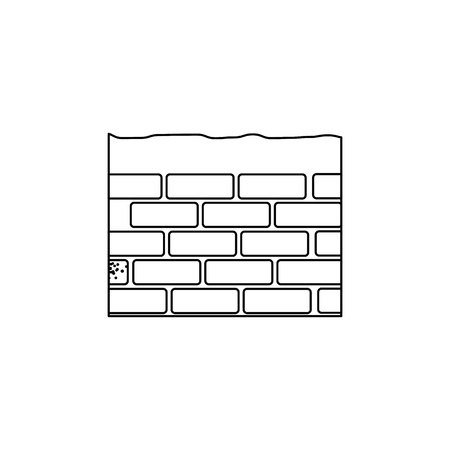 bricks wall icon over white background. vector illustration