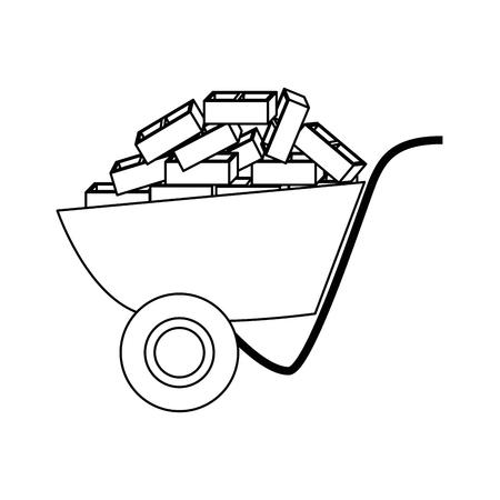 wheelbarrol tool icon over white background. vector illustration Illustration