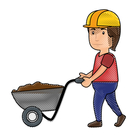 construction worker with a wheelbarrow, cartoon icon over white background. colorful design. vector illustration
