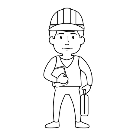 construction worker standing with safety helmet, cartoon icon over white background. vector illustration