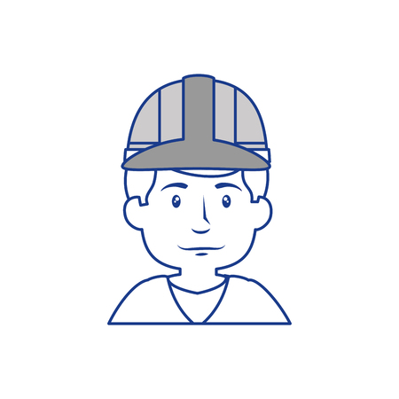 construction worker with safety helmet, cartoon icon over white background. vector illustration Illustration