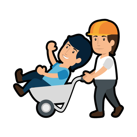 construction worker and wheelbarrow with a man inside, cartoon  icon over white background. vector illustration