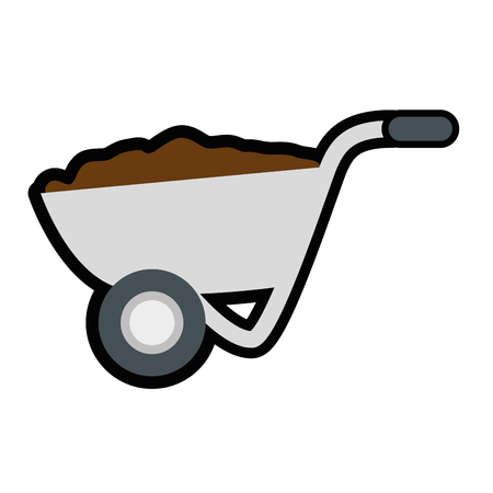 wheelbarrow with soil tool icon over white background. vector illustration