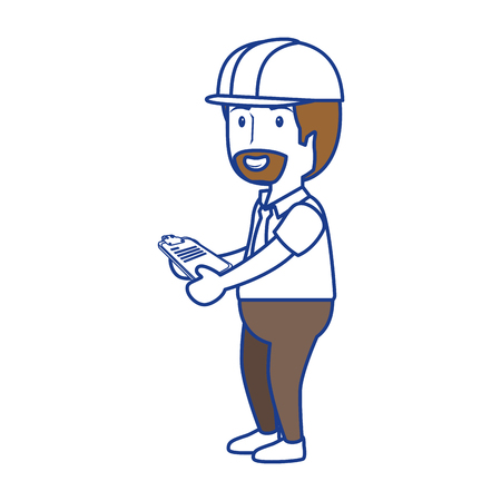 construction worker icon over white background. vector illustration Stock Photo