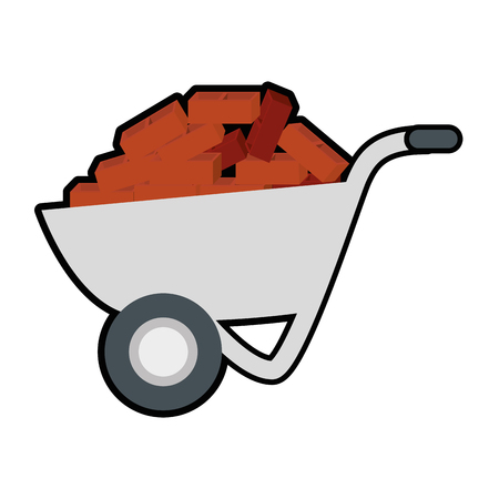 wheelbarrow with bricks icon over white background. vector illustration