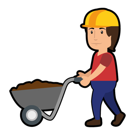 construction worker with wheelbarrow tool, cartoon  icon over white background. vector illustration
