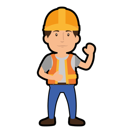 construction worker standing with safety helmet, cartoon icon over white background. colorful design. vector illustration
