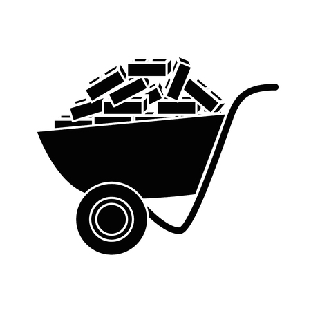 wheelbarrow tool icon over white background. vector illustration Çizim