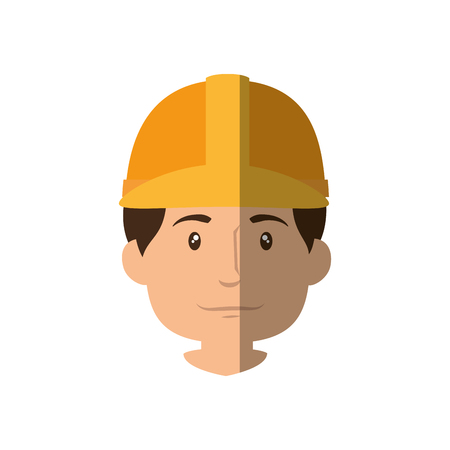 construction worker with safety helmet, cartoon  icon over white background. vector illustration Stock Vector - 77714432