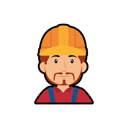 construction worker with safety helmet, cartoon icon over white background. colorful design. vector illustration