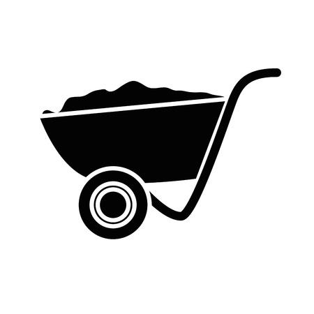 kruiwagen gereedschap pictogram op witte achtergrond. vectorillustratie