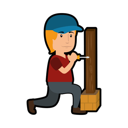 construction worker with wooden plank icon over white background. colorful design. vector illustration 版權商用圖片
