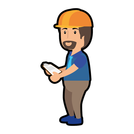 construction worker standing with safety helmet, cartoon icon over white background. colorful design. vector illustration Stock Illustration - 77714433